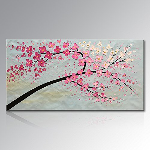 Seekland Art Hand Painted Knife Modern Canvas Wall Art Abstract Floral Oil Painting Pink Large Artwork for Wall Decor Living Room No Frame (80''W x 40''H) by Seekland Art