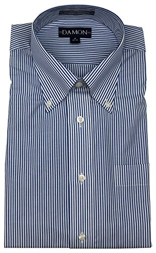 Damon Ultra Poplin Button Down Collar Bengal Stripe Dress Shirt (Legion Blue, 16.5 32/33)