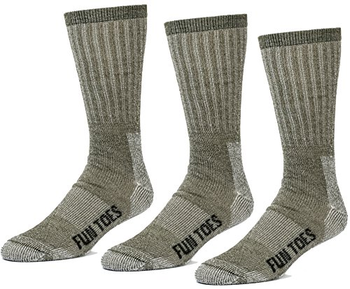FUN TOES 3 pairs thermal insulated 80% merino wool socks men's, hiking size 8-12 (Olive Green)