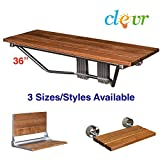 "36"" Upgraded Double Seat Folding Shower Bench Teak Wood Modern Finished Chrome"