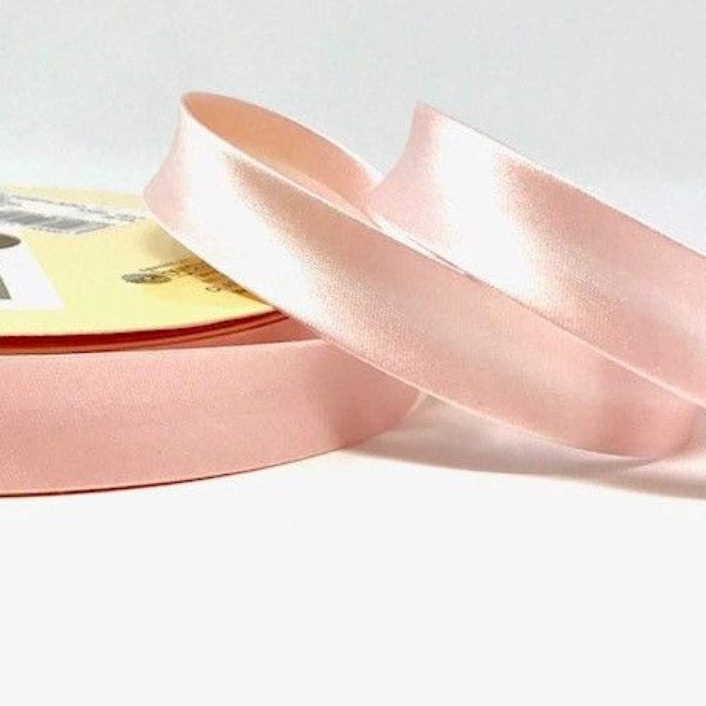 Plush Addict Biais en satin Rose glac/é 18 mm de large Vendu au m/ètre
