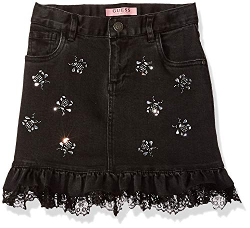 Kids Girls Denim Guess - GUESS Girls' Big Frayed Hem Denim Mini Skirt, Original Soft Black, 7