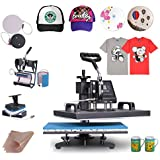 Mophorn Heat Press 6 in 1 Multifunction Sublimation Heat Press Machine Desktop Iron Baseball Heat Press Machine for T-Shirts 900W Digital Swing Away(6IN1 12x15inch)