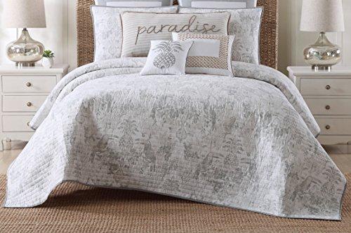Oceanfront Resort Toile Printed Cotton Quilt Set, Full/Queen, Tropical Plantation Toile Print (Cotton Toile Comforter)