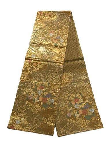 絶縁するモロニックのどリサイクル 袋帯 秋草文 菊の花 金地 正絹 六通