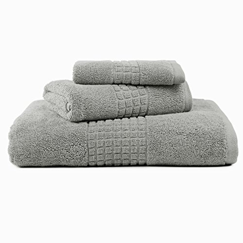 Home Goods Durham (Deals - Caravalli Egyptian Cotton Towel Set, Durham Grey Luxury 3-Piece Towel Sets, Large Ultra Absorbent Spa Towel Set with Hand Towel and Wash Cloth, Soft Gray Oversized Bath)