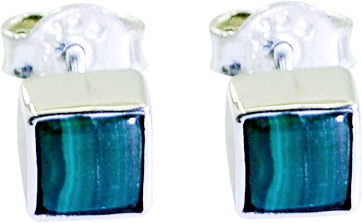 joyas plata atractiva malaquita una piedra preciosa forma cuadrada cabujones pendientes de plata esterlina