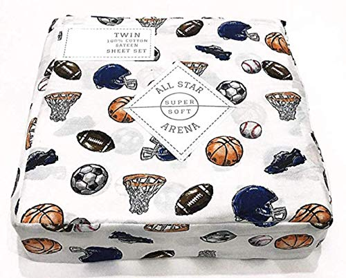 - All Star Arena Boys Sports Themed Sheet Set Cotton Basketball, Soccer, Football, Baseball (Full)