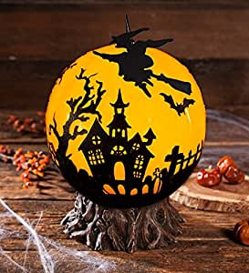 Indoor Outdoor Glowing Halloween Globe with Rotating Witch 11 dia. x 12.5 H