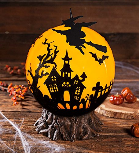 Witch Globe (Indoor Outdoor Glowing Halloween Globe with Rotating Witch 11 dia. x 12.5 H)