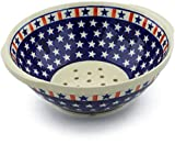Polish Pottery 10-inch Colander (Americana Theme) + Certificate of Authenticity