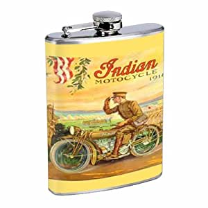INDIAN MOTORCYCLE 1918 WORLD WAR I MILITARY 8OZ Stainless Steel Flask D-289