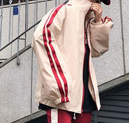 Strip di Harajuku Top donna allentata pelle Trend Style Wear e autunno bufalo Tops Primavera XL Student DEED Vertical wP0Z1Z