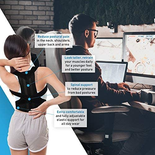 Fully Adjustable Clavicle Medical Belt Straightener Back Brace /& Shoulder Support Trainer for Pain Relief /& Improve Bad Slouching Problems Small Posture Corrector for Women /& Men