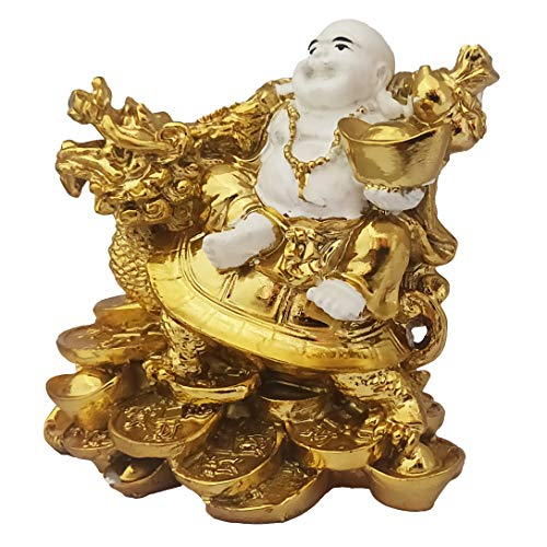 Divya Mantra Feng Shui Happy Man Laughing Buddha with Gold Ingot on Dragon Turtle Tortoise on Bed of Wealth Statue/Showpiece for Money, Good Luck, Home/Office Decor Gift Item/Product - Multicolor