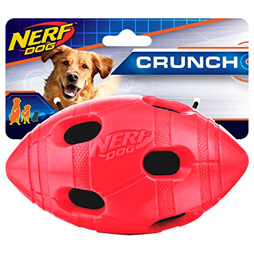 - Nerf Dog 6in TPR Bash Crunch Football: Red, Dog Toy