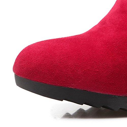AllhqFashion Mujeres Esmerilado Puntera Redonda Sólido Caña Baja Mini Tacón Botas Rojo