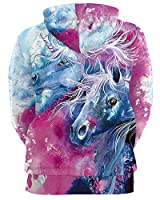 GLUDEAR Unisex Realistic 3D Digital Print Pullover Hoodie Hooded Sweatshirt,Couple Unicorn,S/M