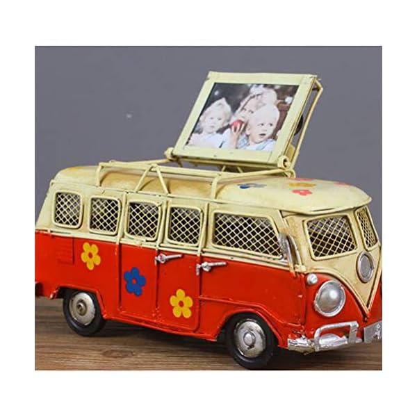 51S3dVab1aL VOSAREA Eisen Sparschwein Vintage Zinn Bus Kindheit Speicher Metall Kunst Geschenk Home Decoration (rot)