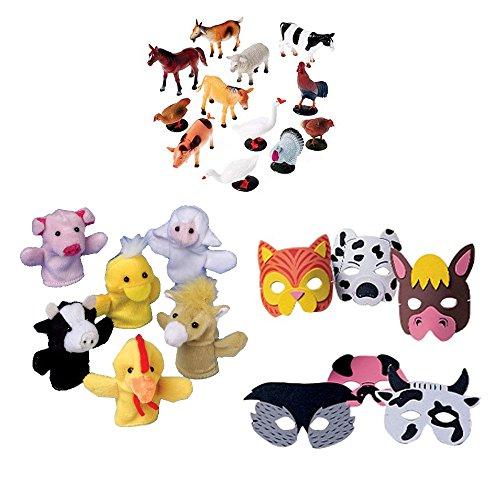 Farm Animal Toy Party Favor Supplies 36 Piece Set for 12 Bundle