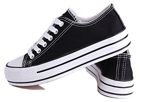 Top Women's Canvas Low Fashion Honeystore up Black Platform Lace Flats Sneakers Shoes ftqTnUx