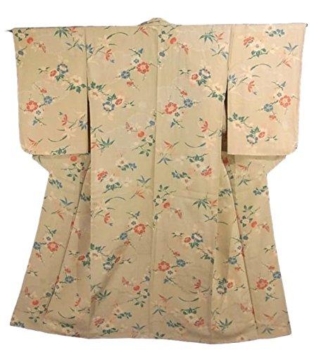 アンティーク 着物 椿や橘などの花模様 正絹 袷 裄63.5cm 身丈146cm