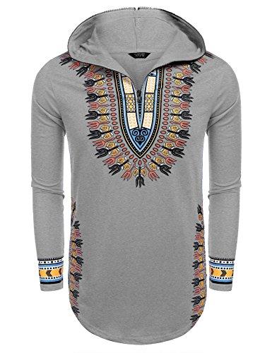 COOFANDY Men's Hippie Tribal Style African Dashiki Hoodie Sweatshirts, Grey, XX-Large