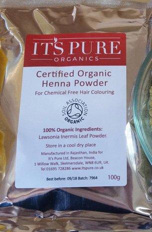 Certified Organic Pure Henna Powder 100g