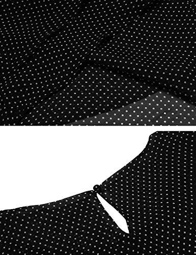 Debardeur Chemisier sans Mode Haut Fille Et Casual Polka Schwarz Tops Elgante Vintage Femme Col Mousseline Manches Blouse Large Classique Jeune Rond Dots fIqAXU