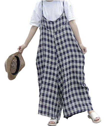 Corduroy Plaid Overalls (YESNO PD2 Women Loose Cropped Pants Overalls Jumpsuits Boyfriend Plaid Color Constrast Wide Leg)