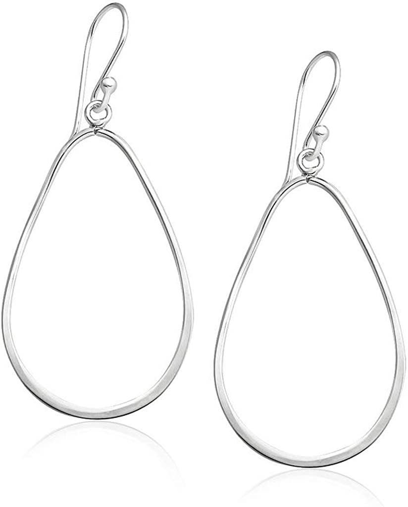Big Apple Hoops - High Polish Sterling Silver Plain Teardrop Oval Hoop Drop Dangle Earrings Made from Real 925 Sterling Silver in 3 Color Silver, Gold, Rose Fashion Gift for Men, Teens, Women