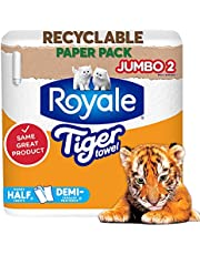 Royale Tiger Towels Recyclable Paper Pack, 2 Jumbo Paper Towel Rolls, 142 Half Sheets