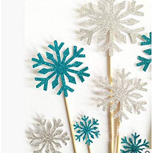 Cake Snowflake Decorations - Efivs Arts 20 Pcs Snowflake Cupcake Toppers Cake Decoration for Kids Birthday Party Christmas Themed Party Baby Shower