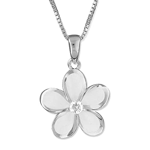 Sterling Silver 15mm Plumeria Pendant Necklace, 16 2 Extender