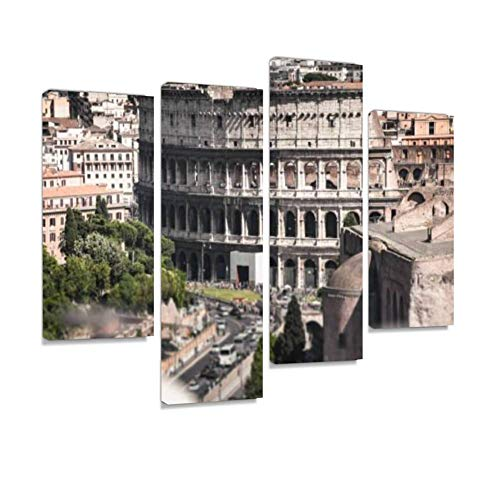 Coliseum Aerial View in Rome Canvas Wall Art Hanging Paintings Modern Artwork Abstract Picture Prints Home Decoration Gift Unique Designed Framed 4 Panel