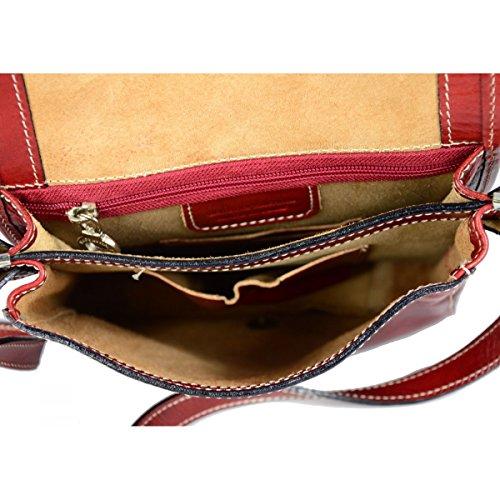 Borsa A Tracolla Uomo In Vera Pelle Colore Rosso - Pelletteria Toscana Made In Italy - Borsa Uomo