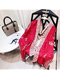 YUANZ Home Brushed Scarf Autumn and Winter Shawl 麻点字母 Jacquard Scarf Double-Sided Warm (Color : Red, Size : 180 * 70)
