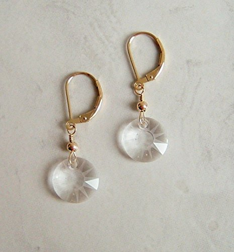 Sun Disc Earring (Clear Partial Frosted Round Sun Disc Swarovski Crystal Gold Filled Leverback Earrings Gift Idea)