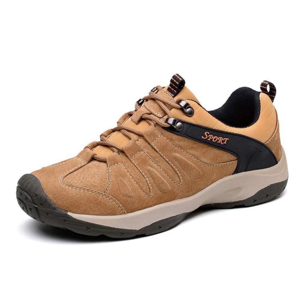 ZHRUI Männer Leder Casual Turnschuhe Frühling Herbst Männlich Walking Komfortable Rutschfeste Schuhe (Farbe   Braun, Größe   7UK=41EU)