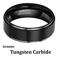 [Free Shipping] 8mm Tungsten Carbide Black High Polish Men's Wedding Engagement Band Ring Comfort Fit and Matte Finish Sizes 6-16