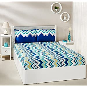 Amazon Brand – Solimo Abstract Waves 144 TC 100% Cotton Double Bedsheet with 2 Pillow Covers, Green