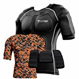 The TITIN Force Weighted Shirt System – 8 Lbs Of Hydro-Gel Inserts – 1 14-Pocket Inner Compression Shirt – 1 Outer Compression Shirt (Orange Digital Camo, Large) For Sale