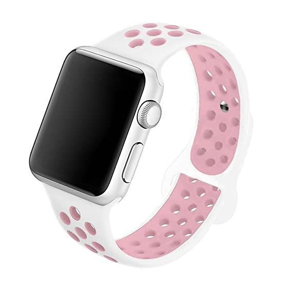 5Daymi Soft Silicone Replacement Band for Apple Watch Nike + Series 3,  Series 2, Series 1 (White/Pink,38mm-S/M)