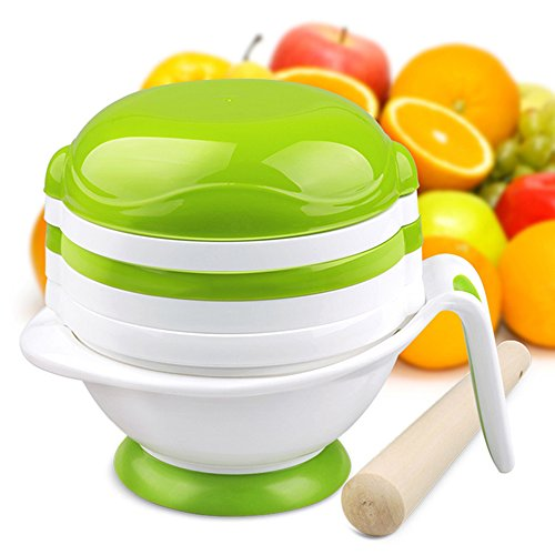 Vianber Baby's Complementary Food Grinding Bowl,DIY Homemade 8 in 1 Set Food Container Childer's Tableware for Make Baby Food (White)