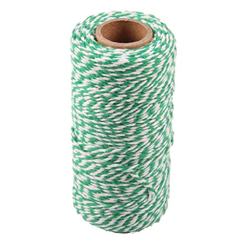BROSCO Bakers Twine 100m Wedding Party Crafts String Ribbon 100% Cotton 15 Colours | Color - Green