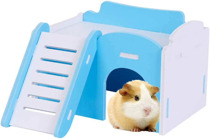 Nuevo Nido De Hámster De Estilo Japonés Hamster Cabina De Dos Pisos Pequeña Casa De Color para Mascotas Hamster Accesorios Casa Hamster Hamster Accesorios Juguetes De Madera Blue