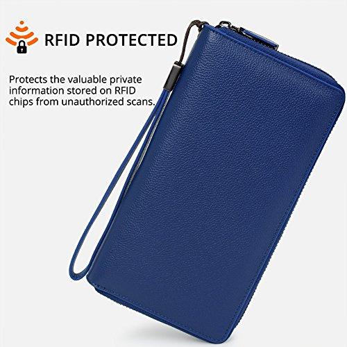 Women RFID Blocking Wallet Leather Zip Around Clutch Large Travel Purse Wrist Strap (Navy Bllue) by Bveyzi (Image #2)