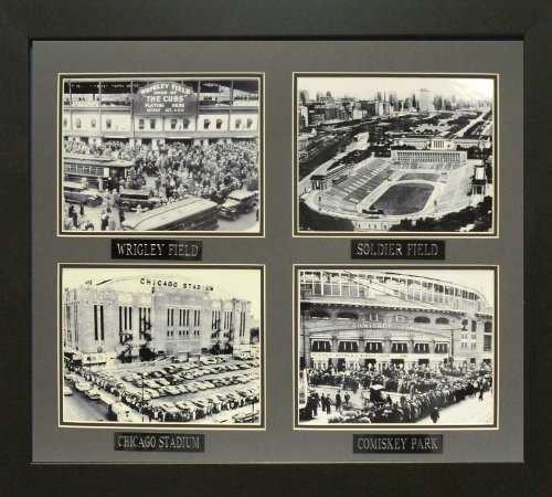 Historic Stadiums of Chicago. Professionally Matted and Framed (4) 8x10 B/w Photo's. Finished Size 22x26 (Historic Chicago Stadium)