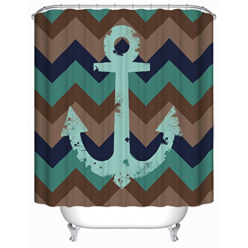 Nautical Shower Curtain Rustic Look 71 X 71 Inches with 12 Rings - Premium Quality Woven Polyester Fabric - Unique Nautical Anchor and Chevron Design - Perfect For Surfers Beach And Ocean (Surfer Shower Curtains)