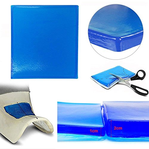 Lisyline Motorcycle Seat Gel Pad Shock Absorption Mats Reduce Fatigue Comfortable Soft Cooling Fabric Cushion Blue Cool DIY Saddle (25 x 25 x 2cm)